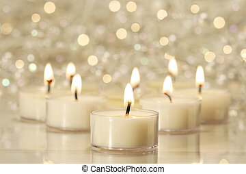 Group of tea lights for holiday celebrations - A group of...
