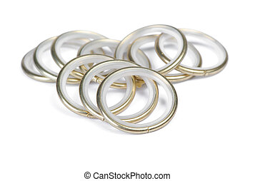 Group of technical golden rings isolated on white background