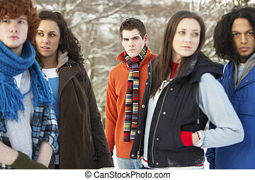 Group Of Teenage Friends Having Fun In Snowy Landscape Wearing Ski Clothing
