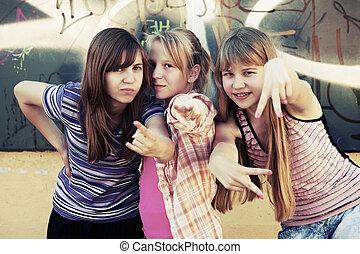 Group of teenage girls having a fun