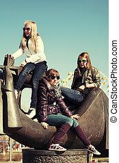 Group of teenage school girls