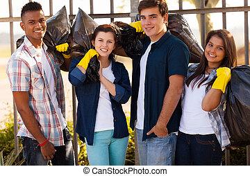 group of teenage volunteers