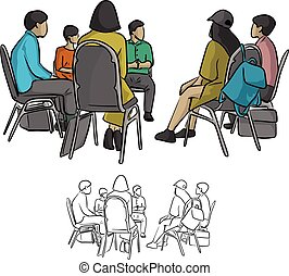 group of teenagers sitting in a circle during consultation...