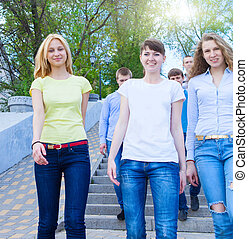 Group of teenagers walking outdoors