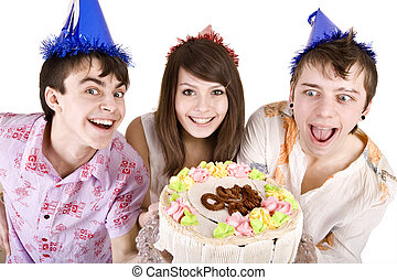 Group of teenagers with cake celebrate happy birthday.
