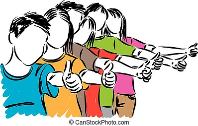 group of teenagers with thumbs up concept vector illustration