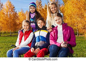 Group of teens in park
