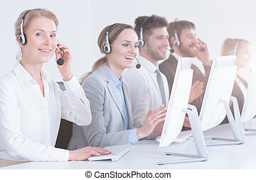 Group of telemarketing workers