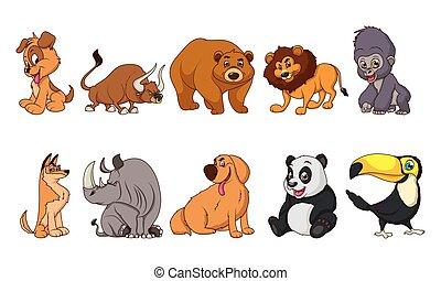 group of ten animals comic cartoon characters