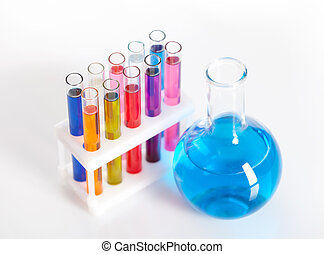 Group of test tubes and flask