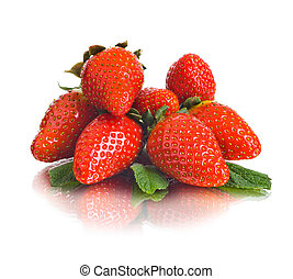 strawberry - group of the big red beauty strawberry, on...