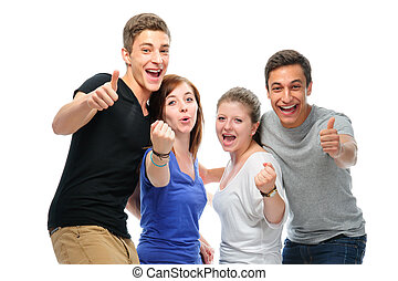 Group of the college students isolated on a white background...