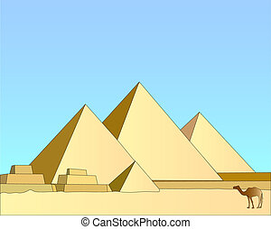 Group of the Egyptian pyramids against the blue sky