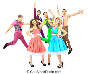 Group of the young smiling people. Over white background Retro style.
