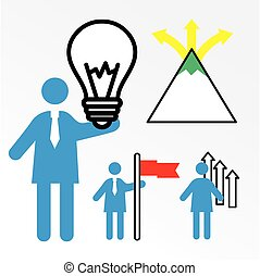group of three business people with coaching set half line style icons