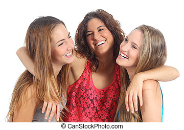 Group of three girls hugging happy isolated on a white...