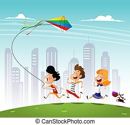 Group of three kids running in the park with kite