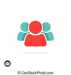 Group of three people icon vector isolated, leader concept logo