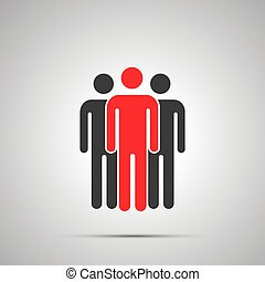 Group of three workers silhouette with leader, simple black icon with shadow on gray