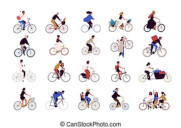 Group of tiny people riding bikes on city street during festival, race or parade. Collection of men and women on bicycles isolated on white background. Colored vector illustration in cartoon style.