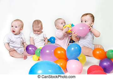 group of toddlers over white