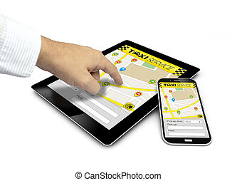 group of touchscreen devices with taxi app and a finger touching