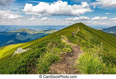 group of tourist hiking the mountains. trail through...