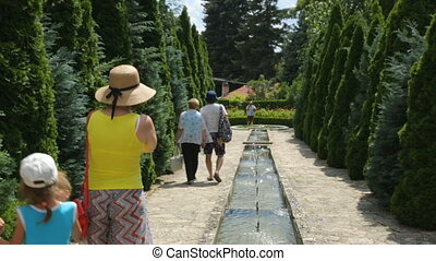 Group of tourist in botanical garden