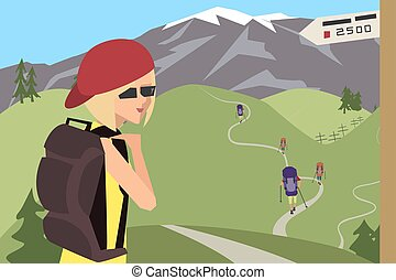 group of tourists goes on the route vector cartoon
