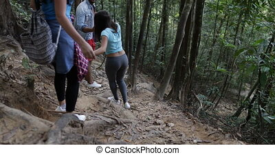 Group Of Tourists Walking Down Hill In Forest Trekking,...