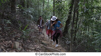 Group Of Tourists Walking Through Woods On Hike, Diverse...