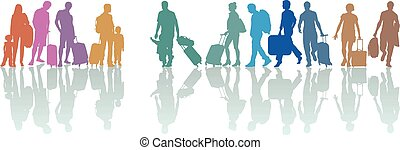 Group of tourists with luggage