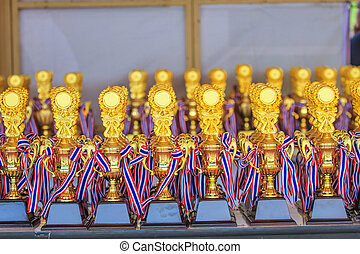 group of trophies on the table