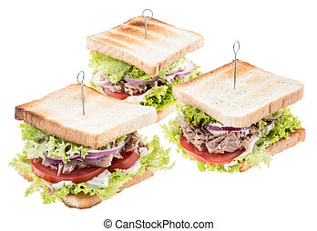 Tuna Sandwiches isolated on white
