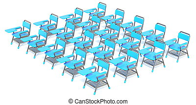Group of twenty blue student chairs 3D render orthographic...