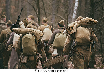 Group of unidentified re-enactors dressed as Russian Soviet...