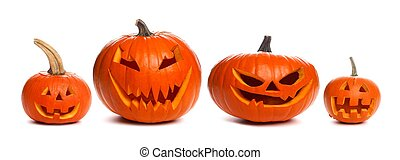 Group of unique unlit Halloween Jack o Lanterns individually isolated on a white background