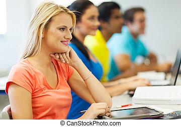 group of university students having class
