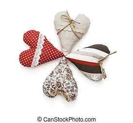 Group of valentine hearts on a white background