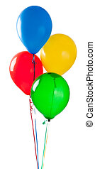 Group of various colored balloons on a white background