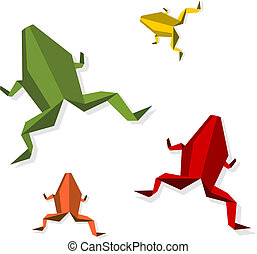 Group of various Origami frog - Group of various origami...