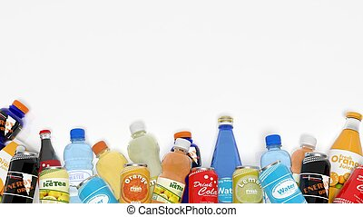 Group of various refreshments isolated on white