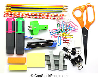 Group of various stationary as background