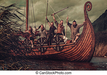 Group of vikings are floating on the sea on Drakkar with mountains on the background