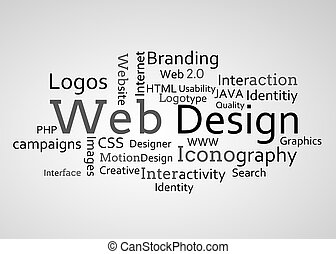 Group of web design terms on white background
