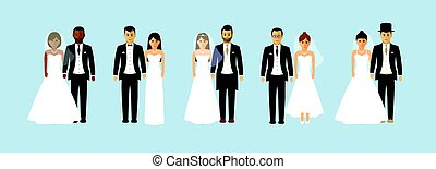 Group of wedding couples
