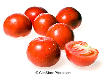 Group of wet tomatoes
