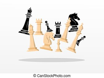group of white and black chess pieces set icons