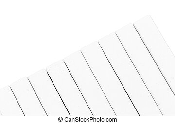 Group of white chalk pieces isolated on white background