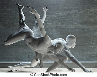 Group of white figures